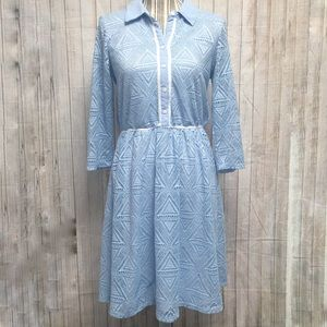 NY Collection Blue Lace Collared Prairie Dress Md